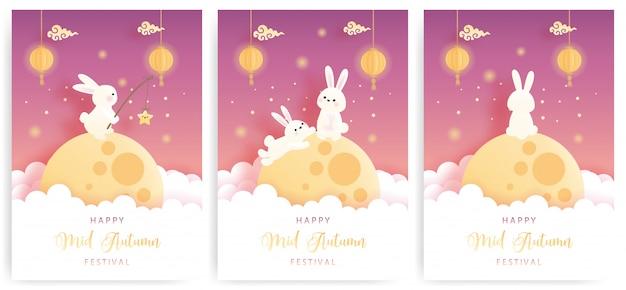 Happy mid autumn kaart instellen met schattig konijntje en volle maan.