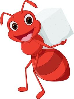 Happy mier cartoon uitvoering van suiker