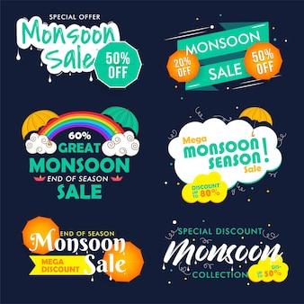 Happy monsoon einde seizoen verkoop emblemen, badges set.