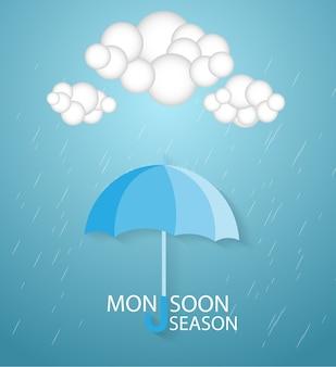 Happy monsoon-seizoen, papierkunstidee en digitaal handwerk.
