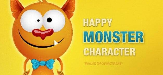 Happy monster vector teken