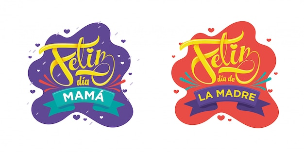Happy mother's day belettering in het spaans feliz da de la madre
