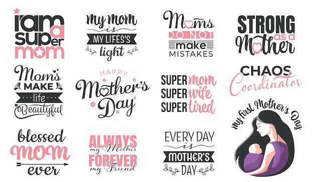 Happy mother's day hand belettering set