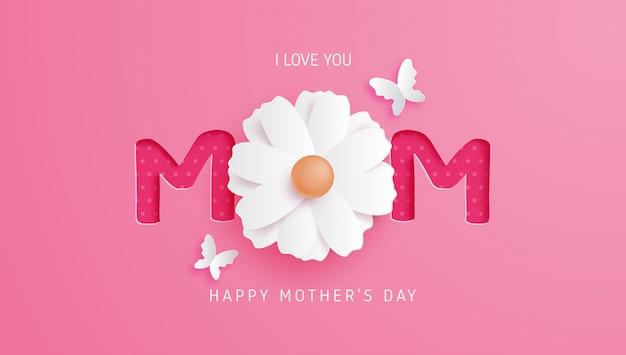 Happy mother's day met bloem en op roze in papier knippen stijl.
