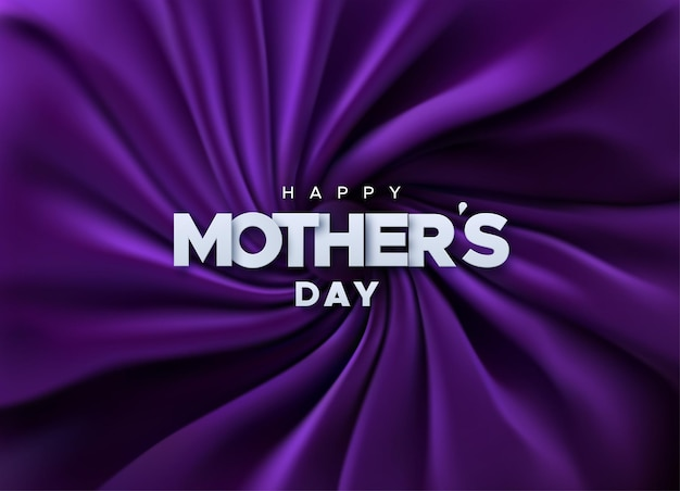 Happy mother's day papieren bord op paarse fluwelen stof Premium Vector