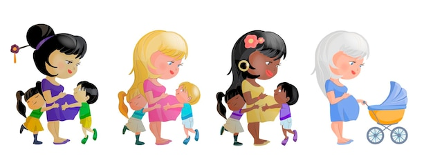 Happy mother's day wenskaart. schattige cartoon afbeelding van zwangere moeders met kinderwagen. moeders van verschillende nationaliteiten.