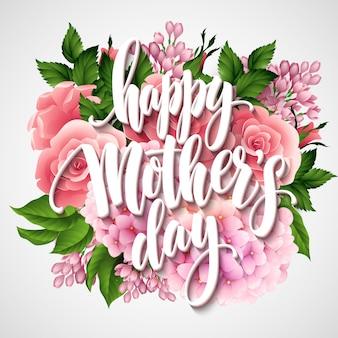 Happy mothers day belettering kaart. greetimng kaart met bloem.