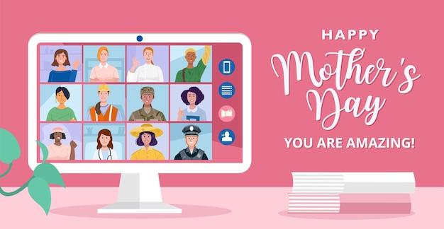 Happy mothers day concept online conferentie met verschillende vrouwen van verschillende beroepen