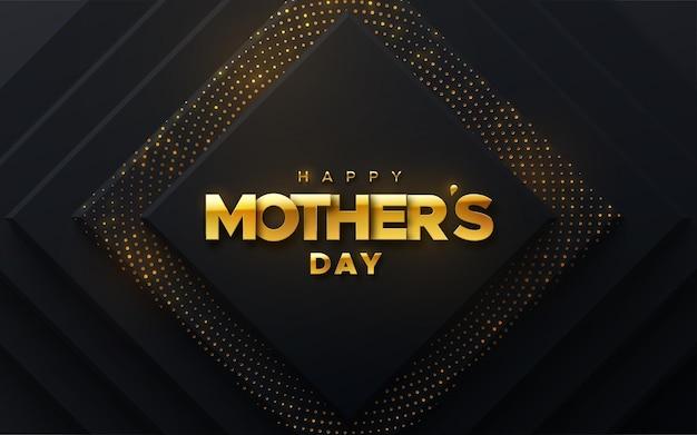Happy mothers day gouden teken op zwarte papercut achtergrond met glitters