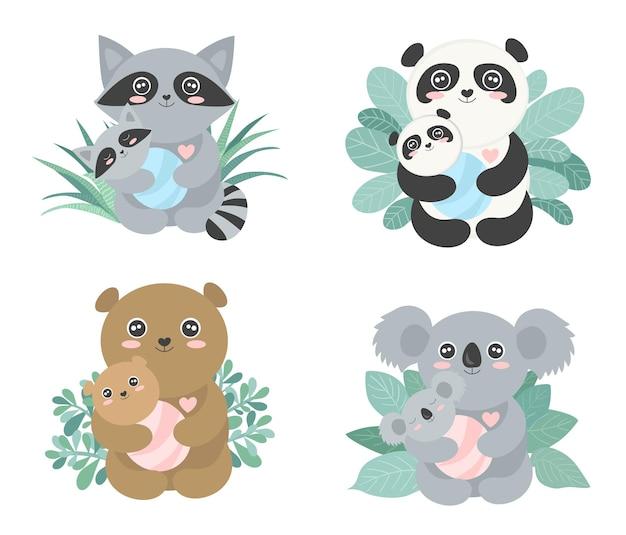Happy mothers day kalligrafie ansichtkaart set van vector cartoon schets illustraties