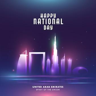 Happy national day celebration poster met beroemde architectuur of monumenten en lichten