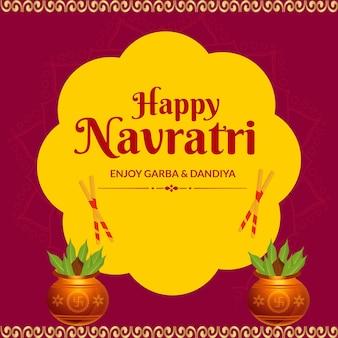 Happy navratri geniet van garba en dandiya bannerontwerpsjabloon