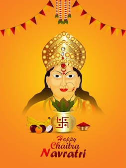 Happy navratri indian festival viering poster met godin durga gezichtsillustratie