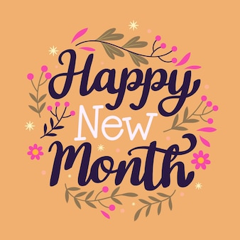 'happy new month' belettering met hand getrokken elementen
