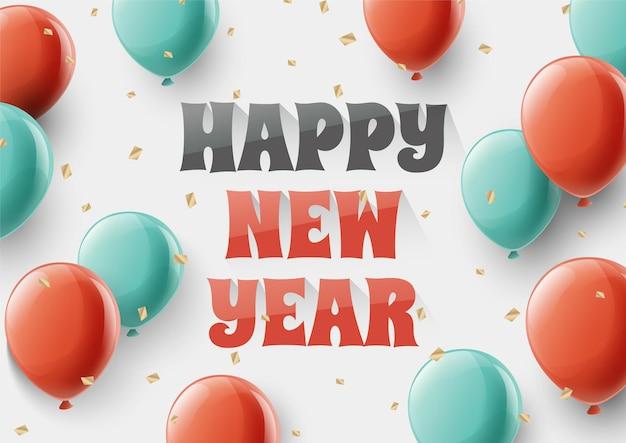 Happy new year belettering tekst voor happy new year vakantie achtergrond met een kleurrijke ballon