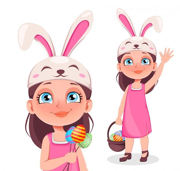 Happy paaskaart. leuk meisje draagt bunny oren