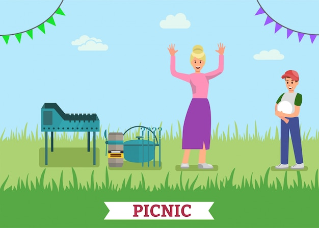 Happy picnic cooking on bbq grill promotie