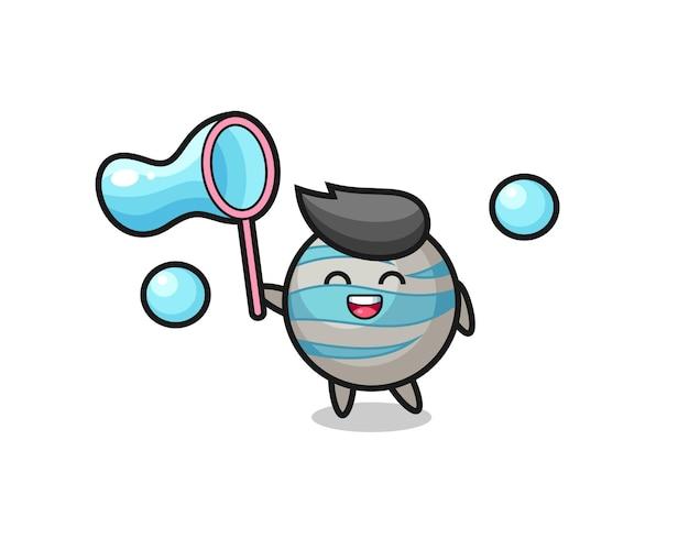 Happy planet cartoon spelen zeepbel