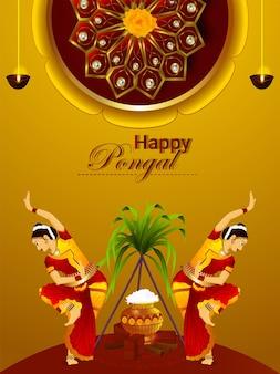 Happy pongal-evenementvlieger met bladeren en meisjes