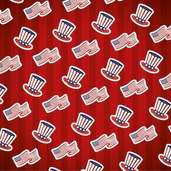 Happy presidenten dag tophats en usa vlaggen patroon