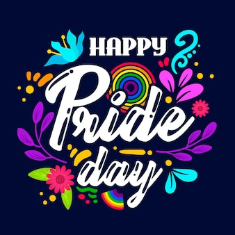 Happy pride day belettering en bloemen