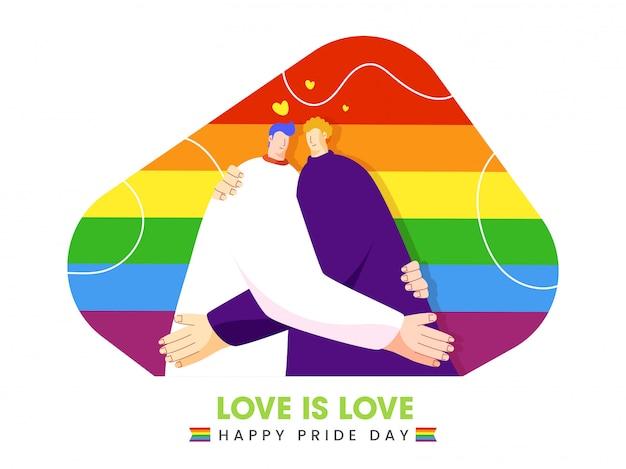 Happy pride day illustratie met jonge homo paar omarmen op mooie achtergrond. liefde is liefde concept.