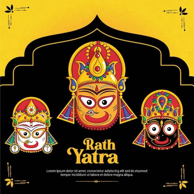 Happy rath yatra banner ontwerpsjabloon