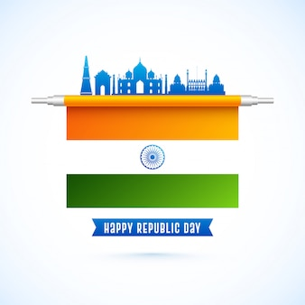 Happy republic day design met indiase vlag en india beroemde monumenten in blauwe kleur