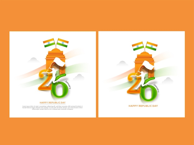 Happy republic day posterontwerp in twee opties