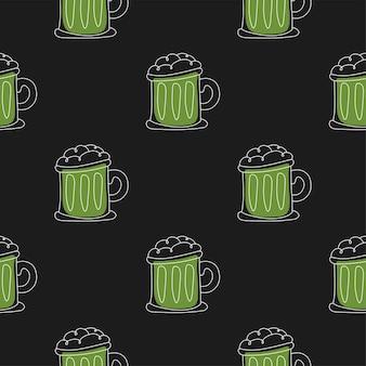 Happy saint patrick day - bierpul naadloos patroon. vakantie zwarte achtergrond vector