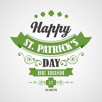 Happy saint patrick's day card. typografisch met ornamenten, lint en klaver