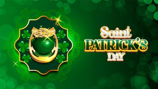 Happy saint patrick's day kabouter's pot met munten en shamrock