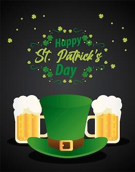 Happy saint patricks day belettering met elf tophat en bieren illustratie