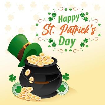Happy saint patricks day belettering met ketel van schat en elf tophat illustratie