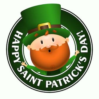 Happy saint patricks day belettering met leprechaun in cirkel