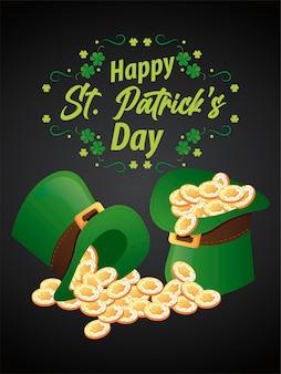 Happy saint patricks day belettering met schat in elf tophats en klaverblaadjes illustratie