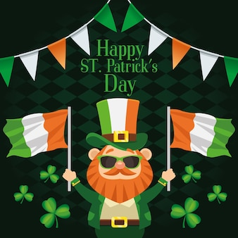 Happy saint patricks day belettering poster met kabouter die ierland vlaggen illustratie opheft