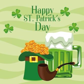 Happy saint patricks day belettering poster met tophat en bier illustratie