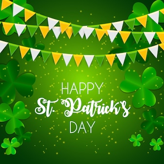 Happy saint patricks day met clover leaves wenskaart