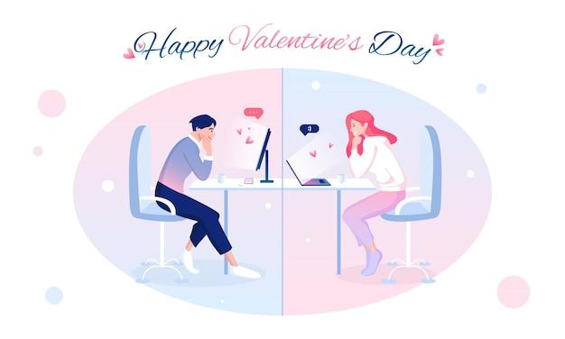 Happy saint valentijnsdag met schattige geliefden die de vakantie online vieren. lange afstandsrelatie concept.