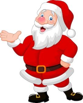 Happy santa cartoon zwaaiende hand