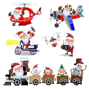 . happy santa claus op de trein helikopter, vliegtuig, scooter, controle drone karakter.
