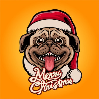 Happy santa claus pug illustratie