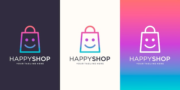 Happy shop, tas gecombineerd met face smile logo designs template,