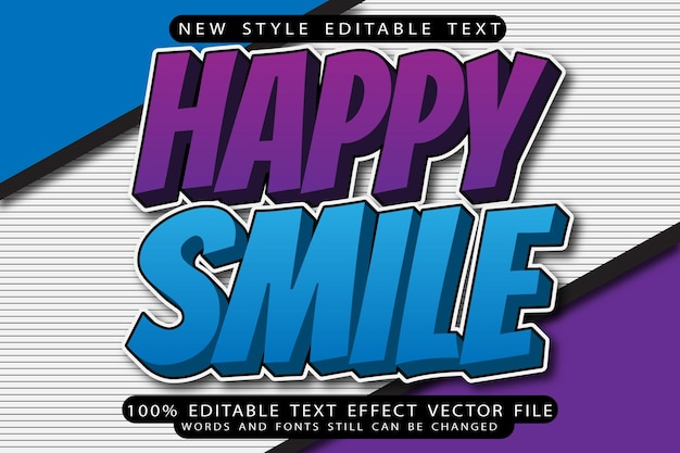 Happy smile bewerkbaar teksteffect voor illustrator