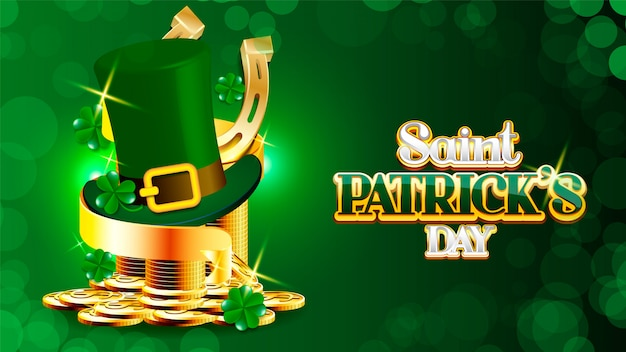 Happy st patrick's day kabouter hoed met gouden munten