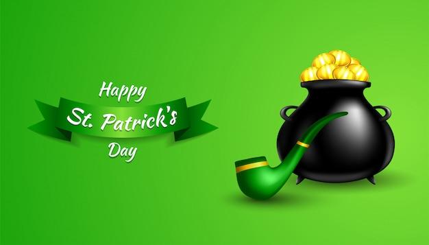 Happy st. patrick's day met realistische groene pijp, zwarte pot met gouden munten op groen