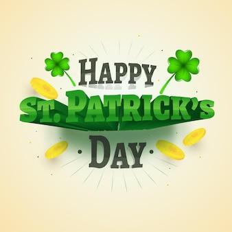 Happy st. patrick's day-tekst met glanzende klaverblaadjes en gouden munten op lichtgele achtergrond