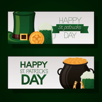 Happy st patricks dag banner set