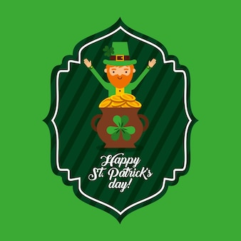Happy st patricks dag groen label kabouter en pot munten